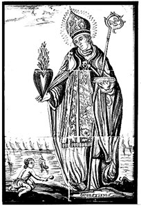 Augustine and child by the sea