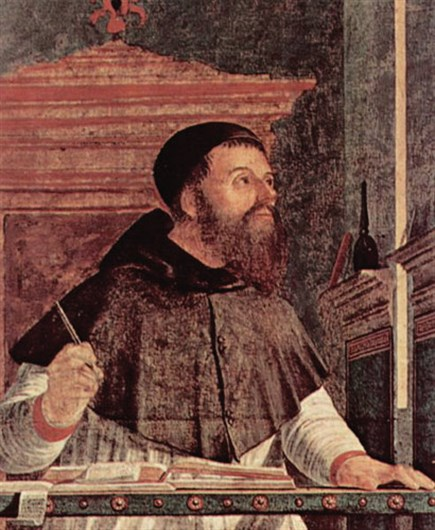 Augustine the writer, pen in hand