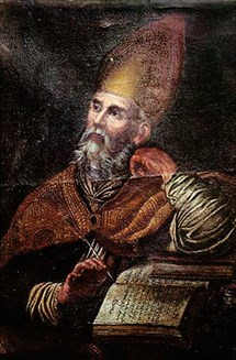 Painting of Augustine with pen in hand