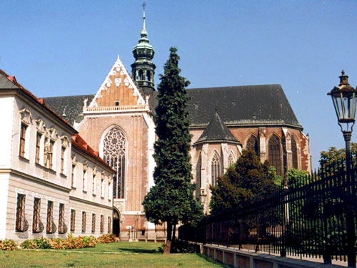 Part of the abbey and its minor basilica at Brno, Czech Republic