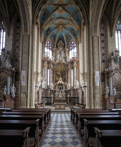 Nave of the abbey church (a minor basilica) at Brno, Czech Republic