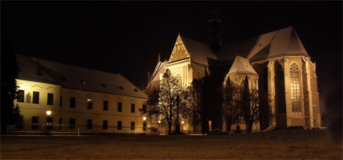 Night at the Augustinian Abbey and minor basilica at Brno, Czech Republic