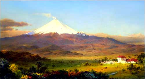 In this famous painting of 1855, San Augustin de Callo is in sight of Cotopaxi, the highest active volcano in the world.