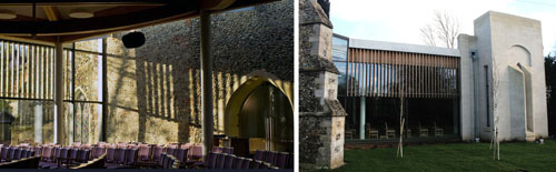 The Clare Priory parish church, inside and outside