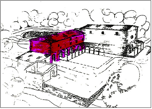 The coloured portion of the diagram is the building that still stands as a ruin.