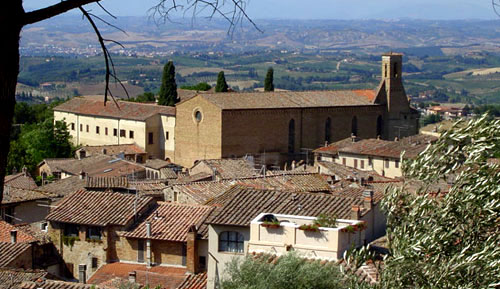 Sant'Agostino Church in San Gimignano, and the monastery behind it.