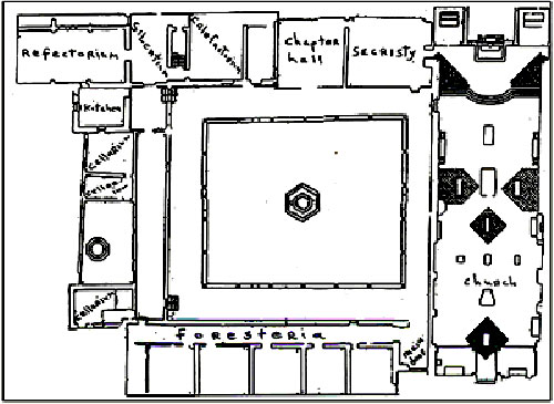 The monastery floor plan is typically Augustinian, with the church on the right.