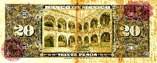The former Augustinian monastery shown on a Mexican banknote.