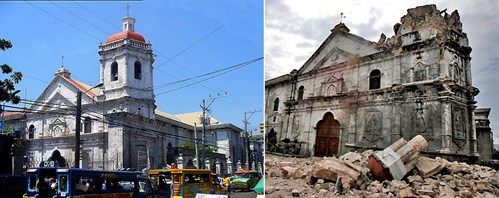 The Basilica of the Santo Niño in Cebu, before and after the 2013 earthquake