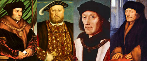 Thomas More, King Henry VIII, King Henry VII, and Erasmus of Rotterdam.