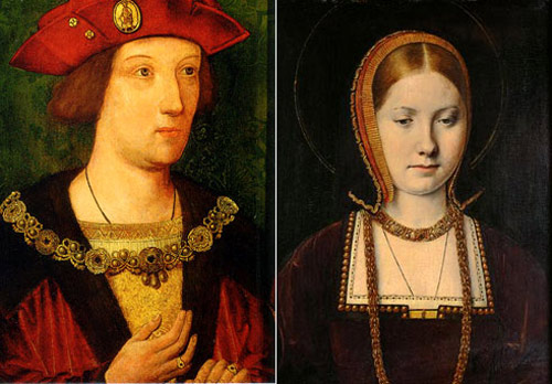 Young Prince Arthur Tudor and his wife Catherine of Aragon from Spain