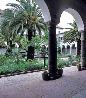 Part of the cloister of the former Augustinian monastery at Quito, Ecuador.