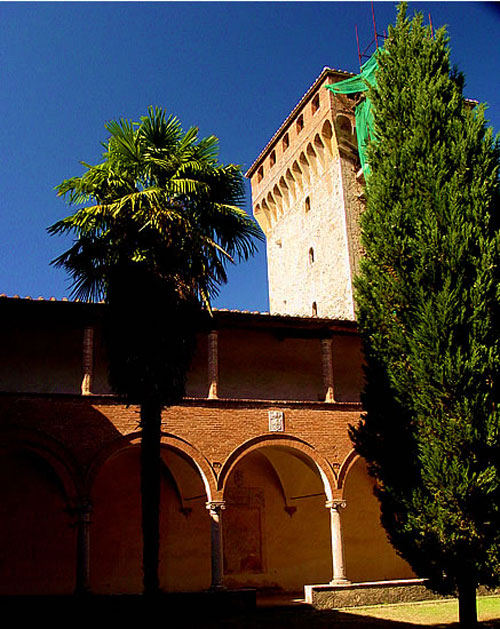 The characteristic tower at the Lecceto monastery in Tuscany