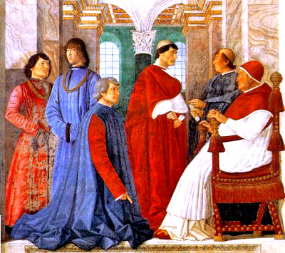 A painting on the theme of the papal court of Pope Sixtus IV