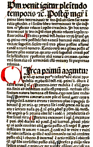Penketh writing in Latin, printed in 1481