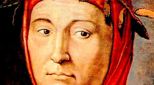 Typical painting of Petrarch wearing his laurel wreath - the laureate