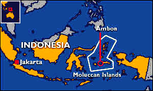 Indonesia, showing the position of Ambon