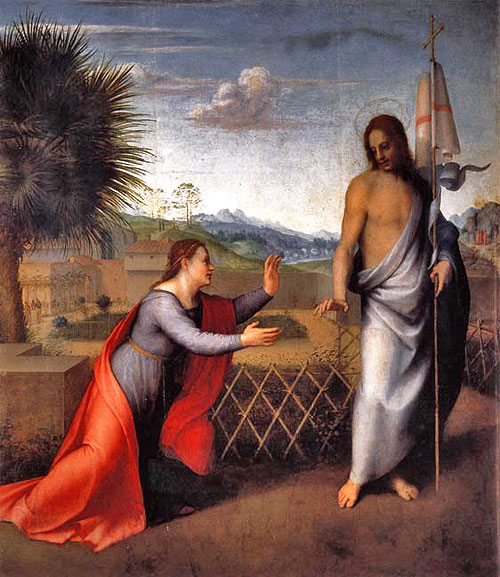 "Andera del Sarto: Noli me tangere. ""Dot not touch me"" to Mary Magdeline"