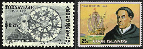 Urdaneta postage stamps from Mexico and the Cook Islands
