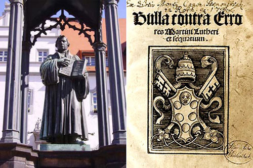 A Luther statue in Wittenberg, and a papal decree (see text below)