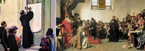 Images of Luther nailing his thesis and speaking at the Diet of Worms