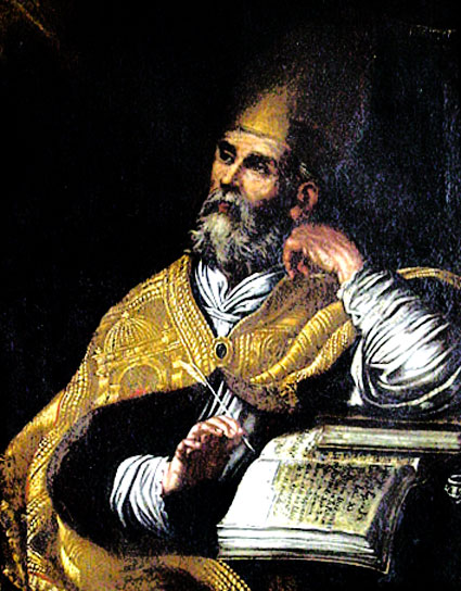 Painting of Augustine in Augustinian monastery at Gubbio, Italy
