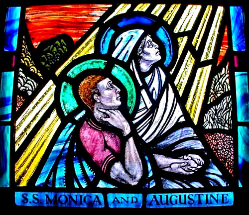 Leadlight window: Augustine and Monica in ecstasy