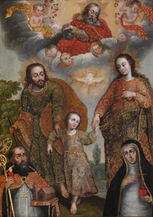 A painting of the Trinity with Saints Augustine and Catherine.