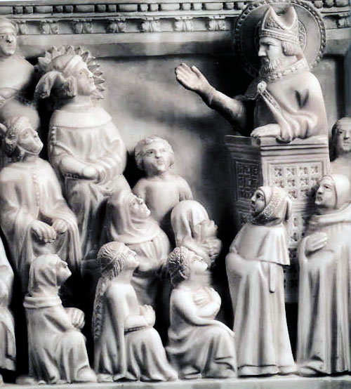 Augustine preaching: on his tomb at the Augustinian church in Pavia, Italy