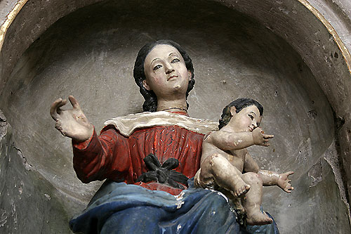 Ancient statue of Mary and Infant at a former Augustinian monastery in Mexico