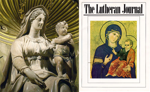 (Left) Mother of Childbirth. (Right) A Lutheran magazine featuring Mary