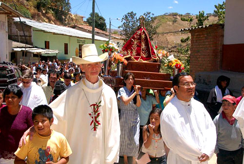The bishop leads a street procession, Diocese of Chulucanas, Peru