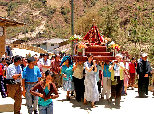 A street procession in the mountains, Diocese of Chulucanas, Peru