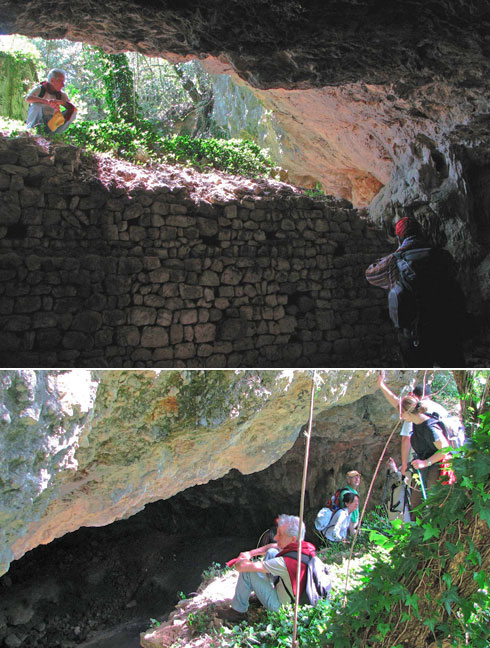 Top photo: The inward side of the opening of the natural cave.                               Bottom: The outward side of the same opening.