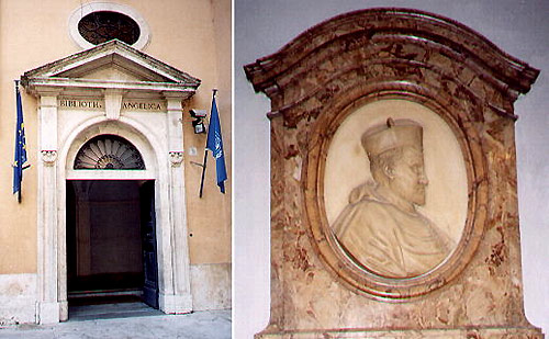 Library door & Angelo Rocca O.S.A. founder of the Angelica Library, Rome