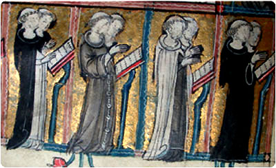 In a medieval illustration from left to right, the Dominicans, Franciscans, Carmelites and the Augustinians.
