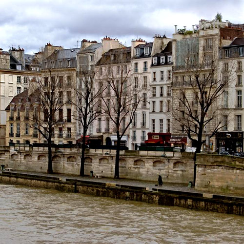 "The ""Quai des Grands Augustins"" on the Seine River in Paris today."
