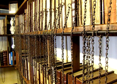 Chained books in a medieval library that still exists