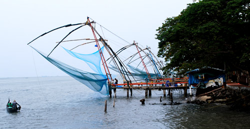 Traditional fishing nets at Cochin,operated from the wharf