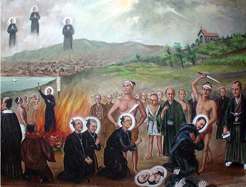 A painting in Nagasaki of the Augustinian Japanese martyrs.