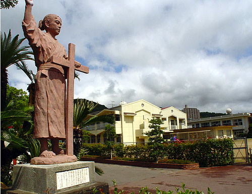 Statue of a young martyr at St Mary's Augustinian School in Nagasaki