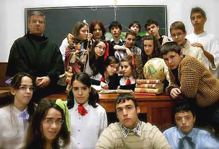 A teacher and students at Colegio San Agustin, Salamanca, Spain.
