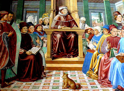 At San Gimignano in Italy a fresco of Augustine teaching (Benozzo Gozzoli)