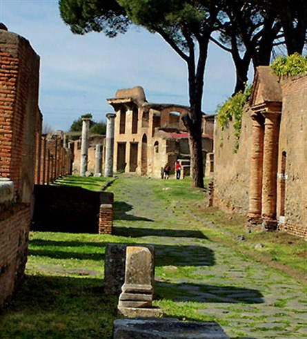 The remains of Ostia Antica today, an archaeological site
