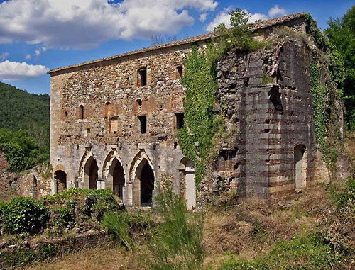 Ruins of the Augustinian hermitage of Saint Lucy at Rosia, Tuscany, Italy.