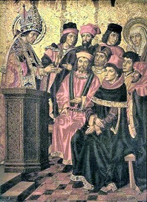 St Ambrose addresses Augustine and Monica
