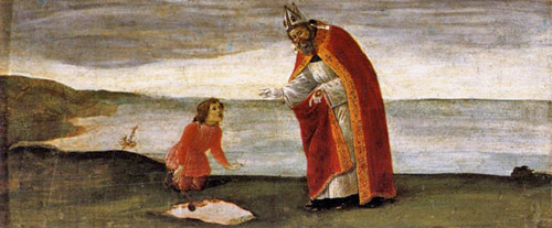Legend of a chance conversation of Augustine with a child at the sea shore.