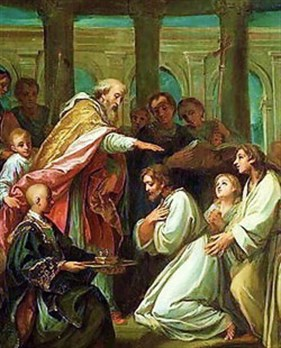Augustine's baptism, witnessed by Monica and Adeodatus