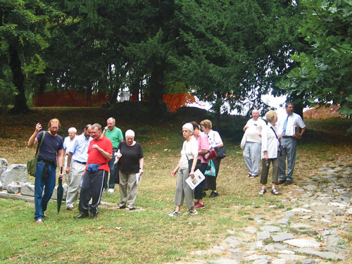 Australian pilgrims in Augustine's garden beside the Casciago church