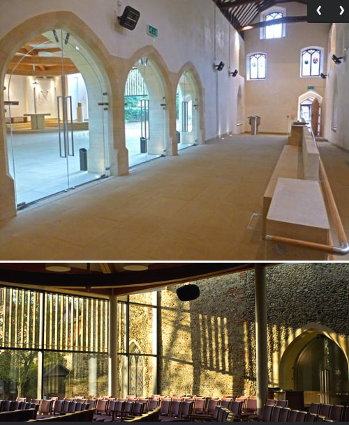 Clare Priory's new chapel, inside and out. It is also a parish church